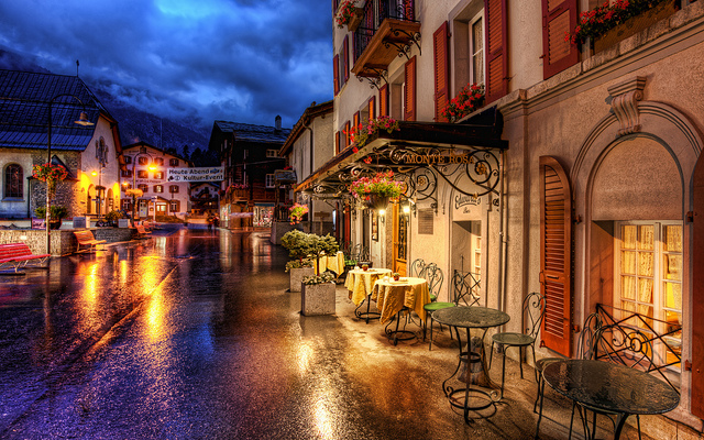 Romantic Evening in the Alps